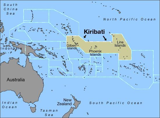 Республика Кирибати на карте