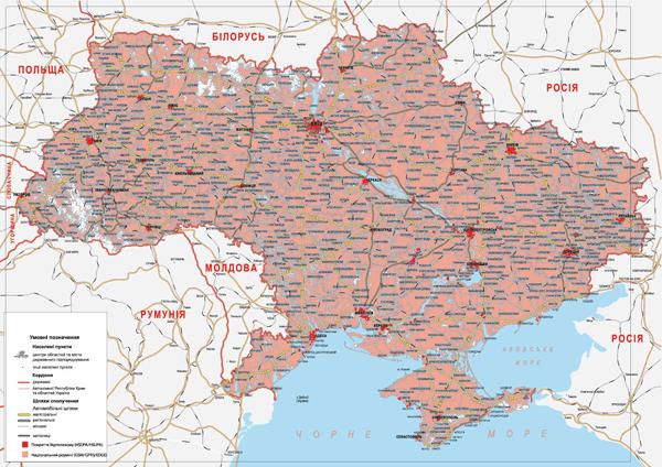 Карта покрытия территории Украины 3G интернетом от ТриМоб