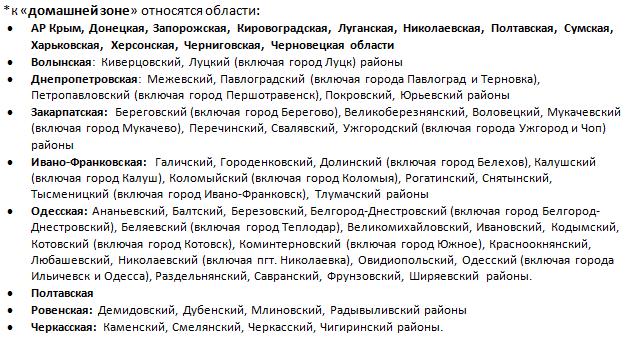 """Области, которые относятся к домашней зоне """"регион 2"""""""